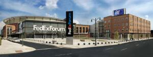FedEx Forum, the city's most expensive new-construction project at $250 million, is home to the NBA's Memphis Grizzlies and also hosts concerts and community events. Designed by Ellerbe Beckett Architects in association with Looney Ricks Kiss; developed by the Public Building Authority.