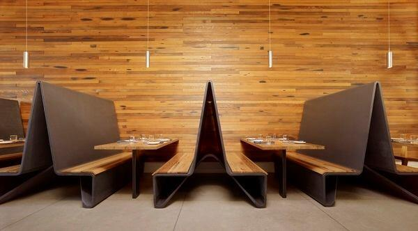 Ductal concrete banquettes by Aidlin Darling Design for Bar Agricole in San Francisco.