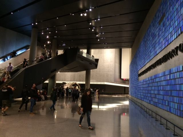 Once below the museum, visitors find themselves beneath the volumes that contain the Memorial fountains above.