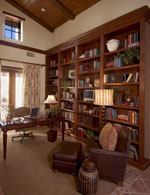 The first-floor study, situated between the living room and the guest suite, has the flexibility to be an office, a music room, or, with a little construction, a full-fledged part of the adjoining guest suite.