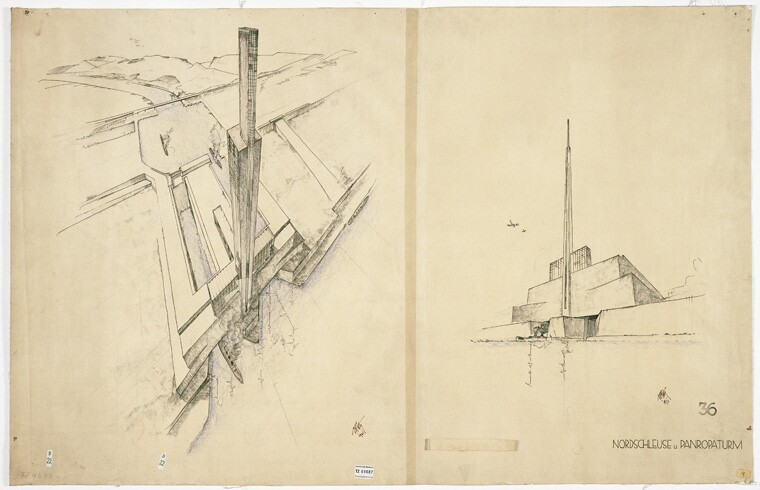 Sketch by Peter Behrens of the Atlantropa Tower and North gate of the Gibraltar Dam (1931, Munich), which was included in 2016 Carter Manny Award recipient Hollyamber Kennedy's dissertation research
