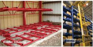 PUT IT AWAY: This cantilever product from Krauter Solutions, left, allows engineered wood to be stored on racks, which makes it easier to handle. Stanley Vidmar's Stak System, right, includes an automated picker, which allows for narrower aisles than do systems that require a forklift.