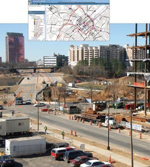 Construction of the NASCAR Hall of Fame in Charlotte, N.C., includes daily lane  closures and road realignments. The city developed GeoCLEAR (inset) to  interface with the GIS centerline database and display the most accurate and  current street-related events, symbolized by type and status. Photos: City  of Charlotte, N.C.