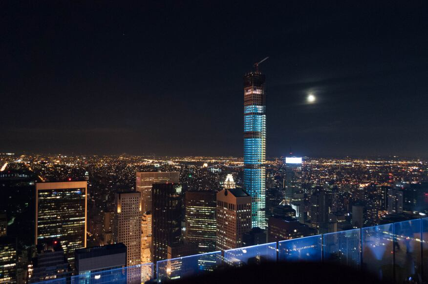 The tower at 432 Park Avenue topped out on Oct. 10, 2014.