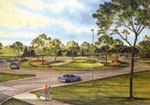 The new Dublin/Brand Road roundabout in Dublin, Ohio, is projected to be completed by 2006. Source: City of Dublin