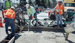 Panel replacement work on Highway 1 in San Luis Obispo, Calif.