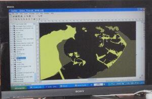 Underwater maps detail the area of Goddio's excavation.