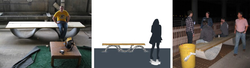 Benches designed by Kent State student Travis Logsdon for the Detroit-Superior Bridge project
