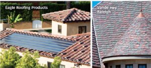 Top It Off: Eagle Roofing Products partnered with Suntech Power to help homeowners generate electricity while still maintaining an integrated look on their roof; Vande Hey Raleigh shows that concrete tile can take on the look of cedar shingles.