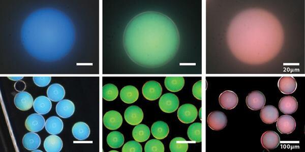 Microcapsules manipulated to produce blue, green, and red structural colors.