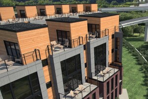 A render of the exterior of 7West, a townhome community slated for completion in 2017.