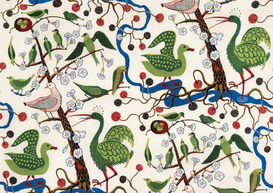Green Birds, linen, designed 1943–1944 by Josef Frank