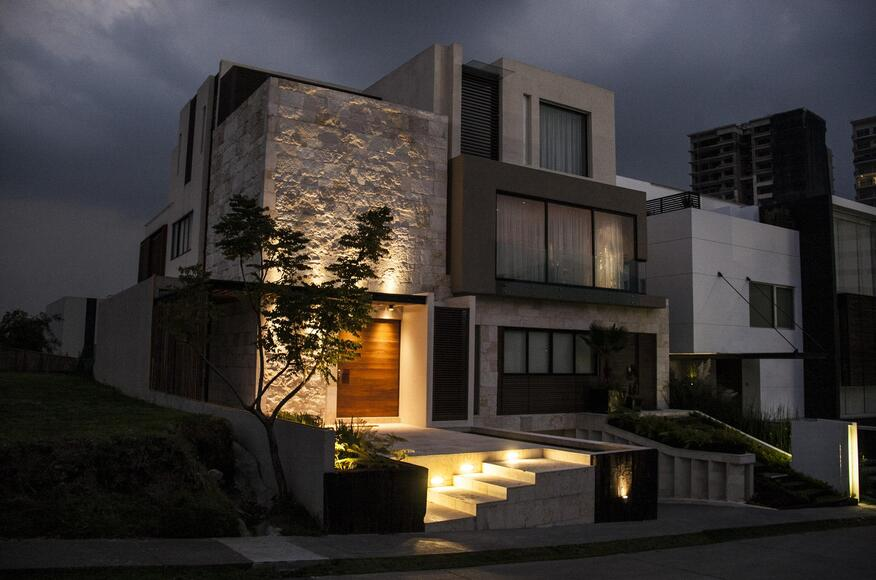 Ss house architect magazine c digo z mexico city mexico single family new construction - Iluminacion de exteriores ...
