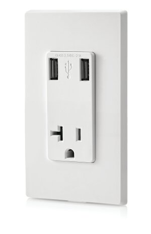 Levitonis playing to consumers' growing use of mobile phones, tablets, gaming devices, and digital cameras by adding two vertical USB ports to a tamper-resistant outlet. A digital chip recognizes the devices' electrical capacity and optimizes the power each receives. The system fits inside a standard wall box and can be used with the company's regular wiring. Leviton,www.leviton.com; 631.812.6000.