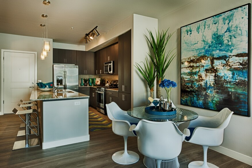 Lennar Multifamily's Skywater at Town Lake in Tempe, Ariz., kitchen-dining room.