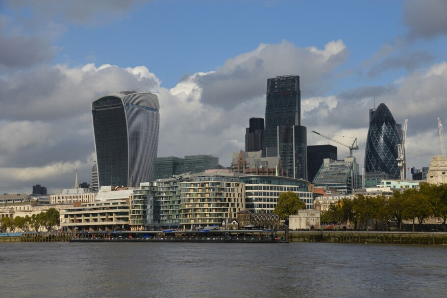 From left to right, London's kitchen drawer of skyscrapers: The Walkie-Talkie, the Cheese Grater, and the Gherkin.
