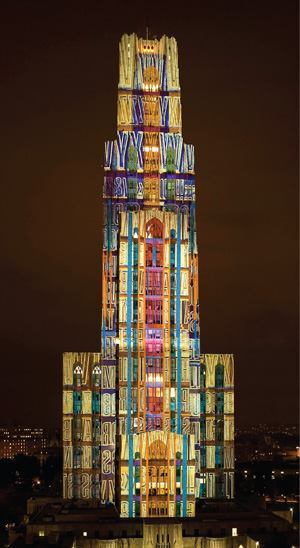 The 535-foot-tall Cathedral of Learning, the second-tallest educational building in the world, was one of more than 20 installation sites for this year's Festival of Lights in Pittsburgh. The designs used high-intensity projectors with lamps ranging from 6000W to 12000W.