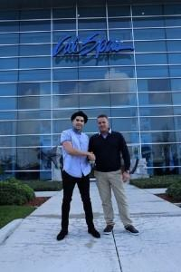 Field trip: British Olympian Louis Smith (left) and Andy Hutchinson, owner of Posh Spas Leisure, visit the Cal Spas headquarters in California. (Photo: Cal Spas)