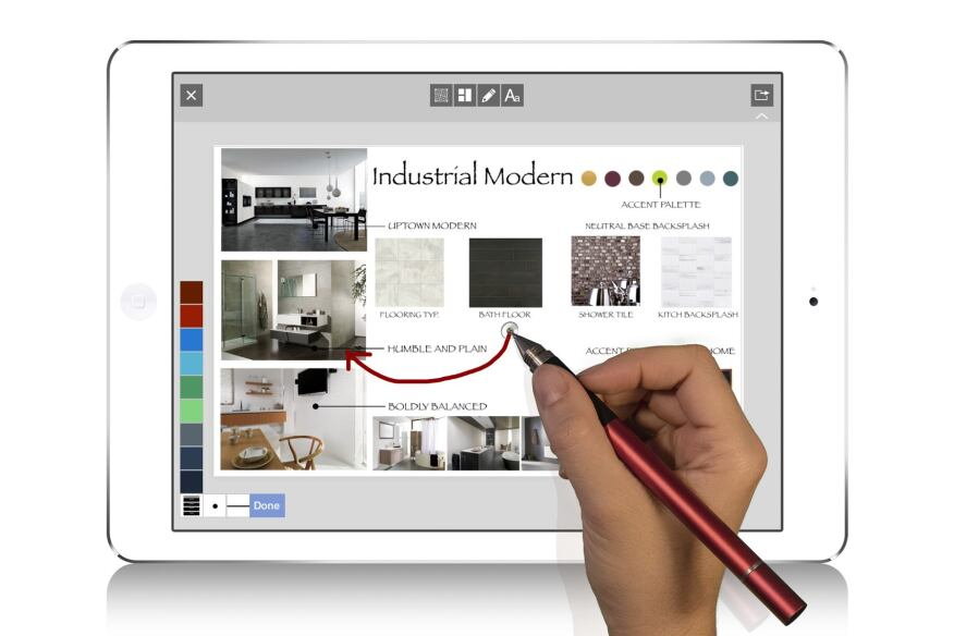 Users can mark up and annotate their collages using their fingers or a stylus.