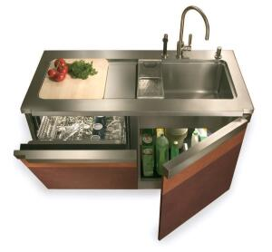 centre of attention The Aquacentre kitchen station by Quebec-based Julien is a fitting choice for many houses, but it truly shines where space is precious. An all-in-one food prep and cleaning module, the unit is outfitted with a 10-inch-deep sink, a stai