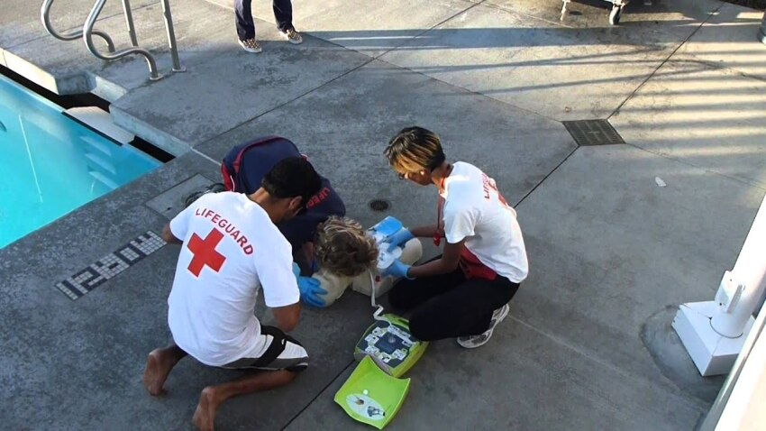 Lifeguarding Drill: 3-Rescuer CPR/AED and BVM all Primary Rescuers Replaced
