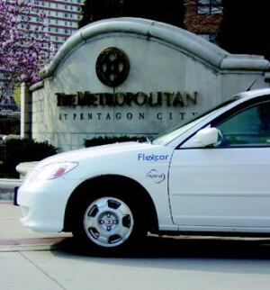 EASY RIDE: The car parked in front of Kettler's high-rise Metropolitan at Pentagon City  in Arlington, Va., is available for residents to lease by the hour, the day, or  longer through a customer service agreement Kettler has struck with  Flexcar, which offers this service at all of Kettler's rental properties. photos: top: courtesy  flexcar; bottom: courtesy amex