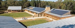 The Aldo Leopold Legacy Center, designed by Kubala Washatko Architects, is the highest rated LEED project in the U.S. Masonry contributed 35 LEED points to the project after masonry contractor Rick Scaife convinced the architect to use reclaimed stone.