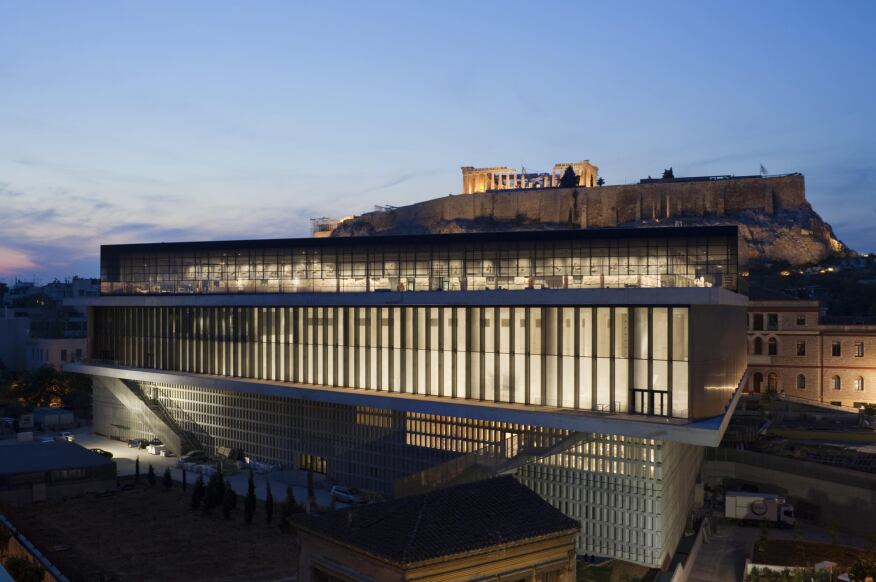 New Acropolis Museum, Athens, Greece, Bernard Tschumi Architects, 2009 (exterior with view to Acropolis)
