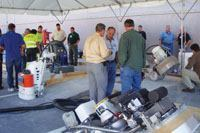 Attendees have a chance to work with demonstration slabs at the International Concrete Polishing & Staining Conference.
