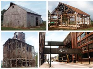 STOCKPILES: Reclaimed lumber comes from many sources, among them (clockwise from top left) a barn in Indiana shown before and during its dismantling; a Spiegel warehouse in Chicago; and a grain elevator in Indiana. Despite recent press reports, there's little interest in reclaiming lumber from homes built after World War II, as they usually weren't constructed with wood from old-growth forests.