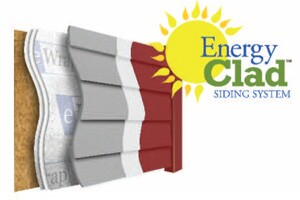 The EnergyClad system includes HardiePlank, eWrap thermal barrier, and CoolWall acrylic coating.
