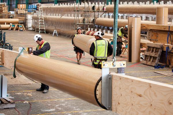 The cathedral's A-frame construction gets its shape from 98 locally sourced LVL rafters housed in cardboard tubes.