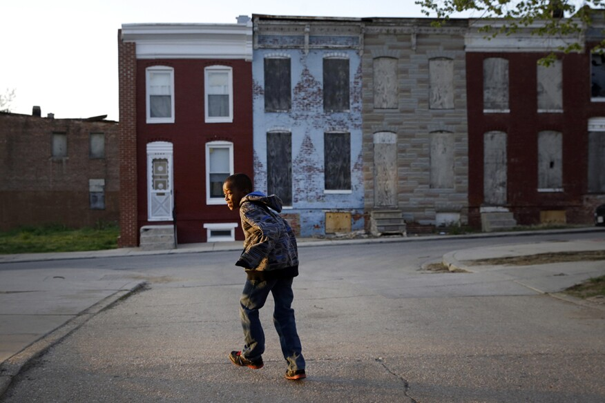 Baltimore buildings near the intersection where Freddie Gray was arrested. (April 24, 2015)