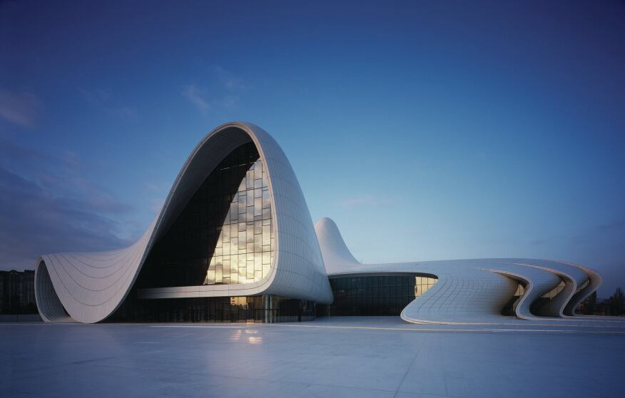 The GFRP-clad exterior of the Heydar Aliyev Cultural Center hides a complex space frame structure.