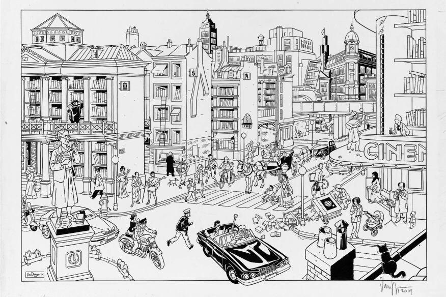 Bibliostraat by Peter Van DongenLot 271Ink on paper, 57 x 38 mm