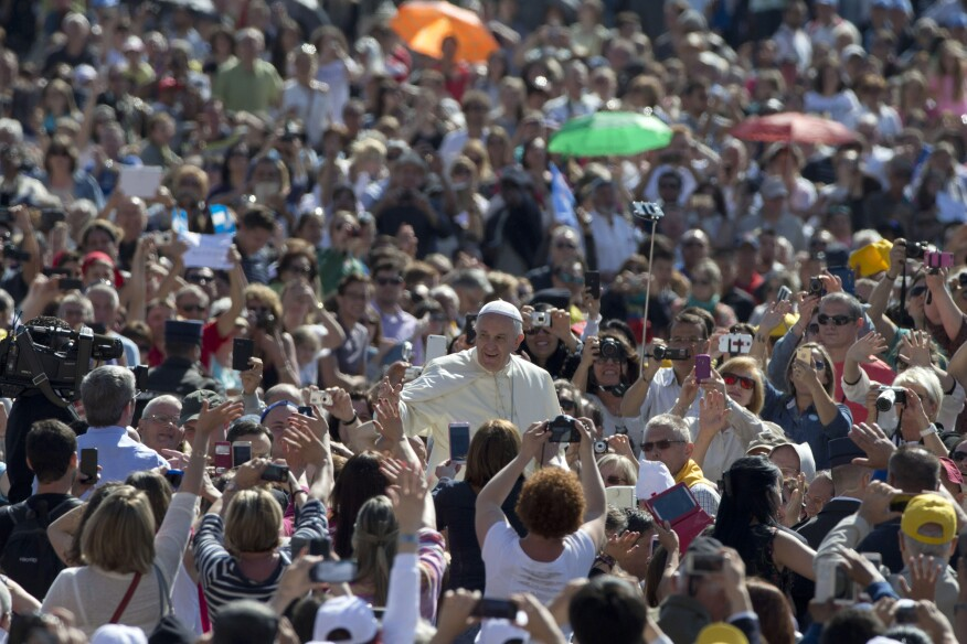 Pope Francis is greeted in St. Peter's Square, at the Vatican, on Wednesday, May 27.