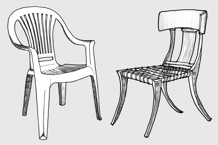 Monobloc plastic patio chair and the Klismos chair