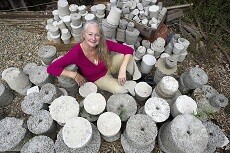Christine Finn with 350 concrete pots about to be sent to Cape May State Park, New Jersey  as part of the 'Hands across the Ocean' project                                                           Picture: DAVID FERGUSON