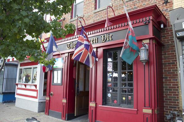 Ryan Gordon, owner of the Queen Vic, an Anglo-centric bar and restaurant in Washington, D.C., worked with a contractor to incorporate salvaged materials into the retrofit project. Among the re-purposed items are casement windows installed on the storefront (shown) and two styles of tin ceiling tiles used inside.