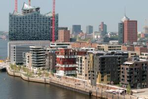 HafenCity with Elbphilharmonie in background