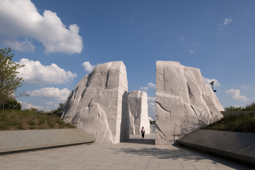 """Visitors enter theMartin Luther King Jr. National Memorialthrough the """"Stone of Hope."""""""