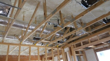 Open Cell spray foam applied 9″ deep at the roof allows all the ducting to run through the conditioned envelope of the house. This is HUGE for the South. Do NOT run ducts outside your insulation layer…it's not smart.