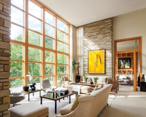 Andersen E-Series Picture Windows with pine interiors.