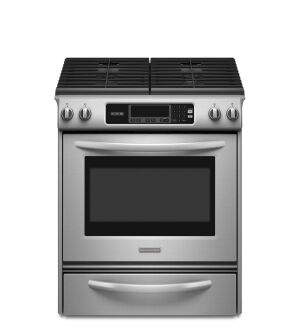 The KitchenAid Architect Series II 30-inch gas slide-in range is one of nine products from the Whirlpool family of brands to earn the new AHAM sustainability standard.