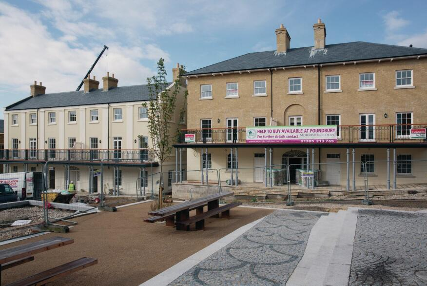 Ongoing construction at Poundbury, which currently has about 2,000 residents.