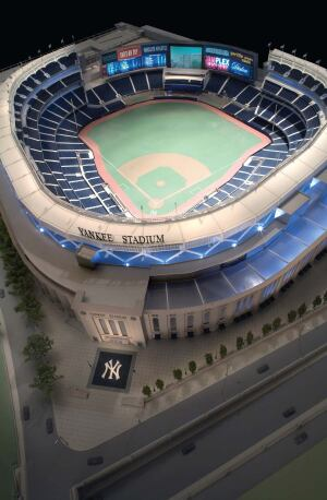 For long-term clients like HOK, he builds a variety of models, including this marketing model for the new Yankee Stadium, designed by HOK Sport.