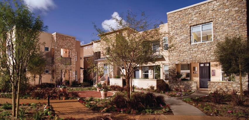 Real Deal: Set on a bluff, the townhouses of Latitudes South at Vantis in Alisa Viejo, Calif., are geared more for how they look from below than whether they optimize their enviable views, a nod to neighborliness that earned the firm a Grand Award in 2007. The L-shaped courtyard features staggered rooftops and massing to create the skyline of a small village.