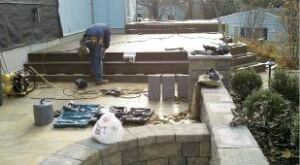 Figure 7. Some parts of the job, such as building stairs, require close coordination between the deck builder and the hardscape contractor.