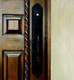 GET A HANDLE: A Baldwin Edinburgh entry handleset by Black & Decker Hardware and Home  Improvement is an ideal complement to the rustic entry door. Made from solid  brass, the product is pick-resistant and kick-proof. It is shown in a black  finish here, but a variety of other finishes are available.
