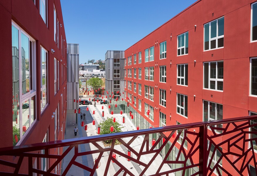 The firm's five-story, $100 million Blossom Plaza apartments in Los Angeles' Chinatown section.
